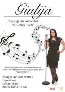 """GIULIJOS IR GRUPĖS """"COMBO BAND"""" koncertas @ Plungės kultūros centras   Plungė   Telšių apskritis   Lietuva"""