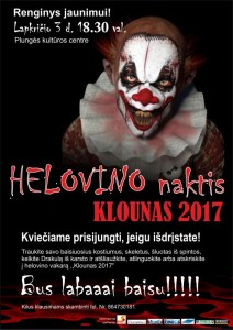 Renginys jaunimui HELOVYNO NAKTIS KLOUNAS 2017 @ Plungės kultūros centras   Plungė   Telšių apskritis   Lietuva