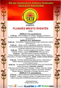 Folkloro festivalio programa miesto šventės metu