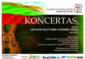Plungės kultūros centro kamerinio choro ir simfoninio orkestro koncertas, skirtas Lietuvos Valstybės atkūrimo dienai @ Plungės kultūros centras