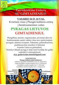 """Bendruomeninės vaišės ,,Pyragas Lietuvos gimtadieniui"""" @ Plungės kultūros centras"""