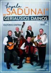 """Kapelos Sadūnai koncertas ,,Geriausios dainos"""" @ Plungės kultūros centras"""